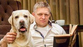 Robert Fico a jeho teď už zesnulý labrador Larry
