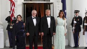 Prezident USA Donald Trump s manželkou Melanií hostil australského premiéra s manželkou Jenny.