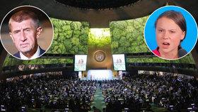 Premiér Andrej Babiš (ANO) nevystoupí s projevem na klimatickém summitu OSN. Zato aktivistka Greta Thunbergová si ho užila.