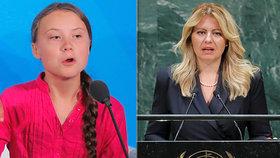 Slovenská prezidentka Zuzana Čaputová podpořila na zasedání Valného shromáždění OSN mladou aktivistku Gretu Thunbergovou (25. 9. 2019)