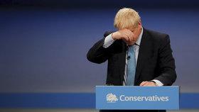 Premiér Boris Johnson na konferenci Konzervativní strany.