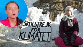 """""""Zrození"""" Grety: Protest s transparentem s nápisem Školní stávka za klima"""