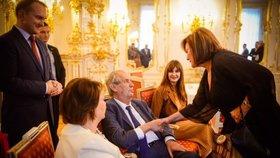 Oslava 75. narozenin Miloše Zemana: Gratulace Aleny Schillerové (za ANO)