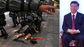 """""""Vyhrožování Číně přinese jen rozdrcená těla,"""" vzkázal čínský prezident demonstrantům z Hongkongu."""