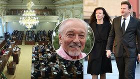 Šéf Sněmovny Radek Vondráček (ANO, vpravo s manželkou Vladimírou) navrhl minutový potlesk pro Karla Gotta. Sněmovna to zamítla.