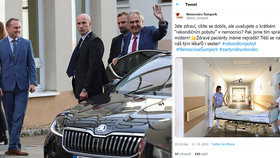 Prezident Zeman nastoupil opět do nemocnice. Doprovodila ho dcera Kateřina. V Šumperku si z rekondičního pobytu utahovali.