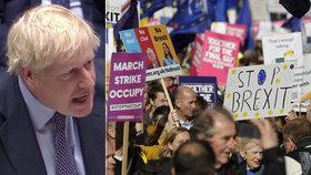 Britští poslanci jednají o brexitové dohodě, lidé vyrazili demonstrovat do centra Londýna (19. 10. 2019)
