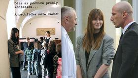 Dcera prezidenta Kateřina Zemanová prováděla po Pražském hradě malé školáky.