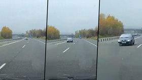 Jízdu vozidla v protisměru zachytila palubní kamera.