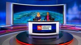 Televize Nova, studio Televizních novin a moderátoři Lucie Borhyová a Rey Koranteng
