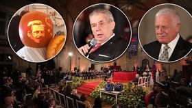 Čeští prezidenti: Zleva Václav Havel, Miloš Zeman a Václav Klaus (28. 10. 2019)