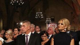 Premiér Andrej Babiš s manželkou Monikou na Pražském hradě