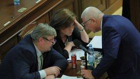 Schůze Sněmovny: Alena Schillerová (za ANO) a Jaroslav Faltýnek (ANO) dali hlavy dohromady (6. 11. 2019)