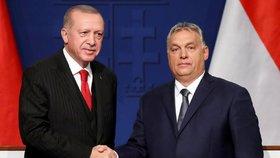 Turecký prezident Recep Tayyip Erdogan a maďarský premiér Viktor Orbán během návštěvy Maďarska (7. 11. 2019)