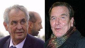 """Zeman se sešel s bývalým kancléřem Schröderem. """"Německo je vděčné Čechům"""""""