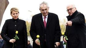 Slovenská prezidentka Zuzana Čaputová, prezident Miloš Zeman a německá hlava státu Frank-Walter Steinmeier na oslavách 30 let od pádu Berlínské zdi.