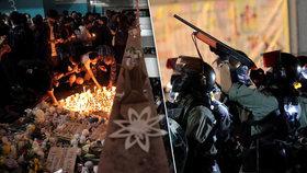 Hongkong uctil památku zesnulého studenta (†22). Demonstrující se opět střetli s policií.