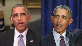 Vpravo je reálná fotografie amerického prezidenta a vlevo jeho počítačem vyrobený dvojník.