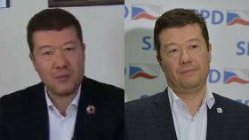 Vlevo je falešná podobizna místopředsedy Okamury a vpravo jeho pravá fotografie.
