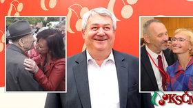 KSČM dnes: Vojtěch Filip uprostřed, šéf poslanců Kováčik s jedinou europoslankyní Kateřinou Konečnou a Marta Semelová na prvomájové akci s nestorem Miloušem Jakešem