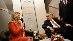 Prezident Miloš Zeman a prezidentka Zuzana Čaputová v Bratislavě otevřeli Český dům (16. 11. 2019)