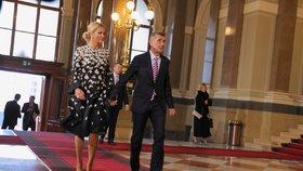Premiér Andrej Babiš (ANO) s manželkou Monikou v Národním muzeu (17. listopad 2019)