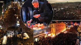 Češi slavili 30 let svobody: Čtvrtmilionovou demonstrací proti Andreji Babišovi (ANO) na Letné, desítky tisíc jich dorazili i na Národní třídu a Václavák