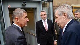 Premiér Andrej Babiš (ANO) a prezident Miloš Zeman na Velitelském shromáždění v Praze (20. 11. 2019)