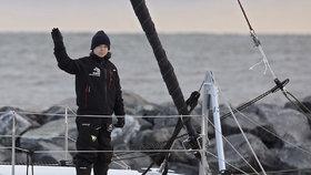 Švédská aktivistka Greta Thunbergová na palubě australského katamaránu.