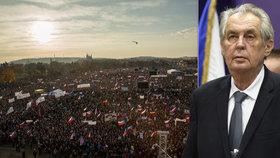 Prezident Miloš Zeman promluvil o tom, co si myslí o listopadové demonstraci Milionu chvilek na Letné.
