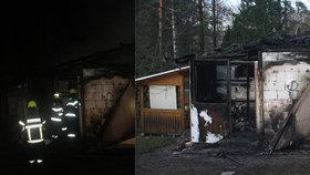 Ve Strážkovicích hořela chata, hasiči uvnitř našli jednu mrtvou osobu.