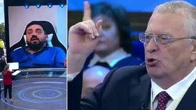 Ruský poslanec Žirinovskij a jeho nenávistný projev poté, co v ruské státní televizi utnuli Pavla Novotného