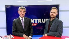 Premiér Andrej Babiš (ANO) byl hostem pořadu Epicentrum dne 5.12.2019. Vpravo moderátor Jakub Veinlich.