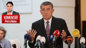Andrej Babiš při tiskové konferenci