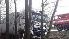 Neovladatelným se stal na zledovatělé silnici u obce Rozkoš u Humpolce kamion a sjel ze silnice.