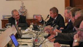 Jednání o rozpočtu, premiér Andrej Babiš a prezident Miloš Zeman