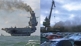 Jediná ruská letadlová loď je v plamenech. Dým z ní stoupá, i když zrovna nehoří.