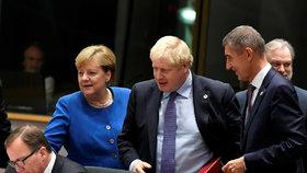 Angela Merkelová, Boris Johnson a Andrej Babiš na summitu EU