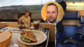 Exministr Jurečka (KDU-ČSL) první den novinek u Českých drah včetně nového jízdního řádu cestoval z Olomouce do Prahy a zět. Překvapily ho ženské nohy na sedačce, na ČD ale pěl jinak chválu