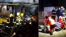 Muž na Pardubicku se při požáru zaklínil mezi dveřmi chatky: Zachránit se ho nepodařilo.