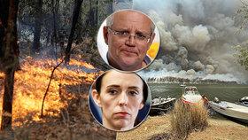 """Australané chválí novozélandskou premiérku. """"Tak se chová správný lídr."""" Ardernová k sousedům poslala další hasiče."""
