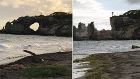 Zemětřesení v Portoriku zničilo skalní úkaz, který byl slavnou turistickou atrakcí. (7.1.2020)