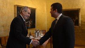 Jan Hamáček (ČSSD) s prezidentem Milošem Zemanem na schůzce (9. 1. 2020)