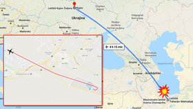 Lokační průvodce letecké tragédie ukrajinského boeingu, který se zřítil u íránského Teheránu se 176 osobami na palubě.