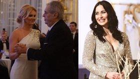 Manželka premiéra Monika Babišová, prezident Miloš Zeman a žena hradního kancléře Alex Mynářová (10. 1. 2020)