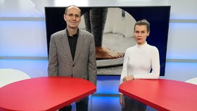 Obezitolog Martin Matoulek byl hostem pořadu Epicentrum vysílaného 13. 1. 2020. Vpravo moderátorka Markéta Volfová.