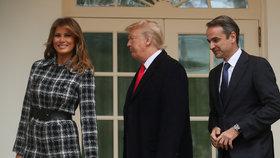 Prezident USA Donald Trump společně s manželkou Melanií v Bílém domě hostili řeckého premiéra Kyriakose Mitsotakise s chotí.