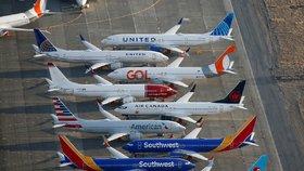Uzemněné Boeingy 737 MAX 8