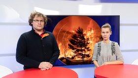 Milan Vítek z organizace Greenpeace byl hostem pořadu Epicentrum vysílaného dne 15. 1. 2020. Vpravo moderátorka Markéta Volfová.