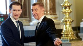 Premiér České republiky Andrej Babiš s rakouským kancléřem Sebastianem Kurzem během summitu zemí Visegrádské skupiny (V4) a Rakouska v Národním muzeu v Praze. (16. 1. 2020)
